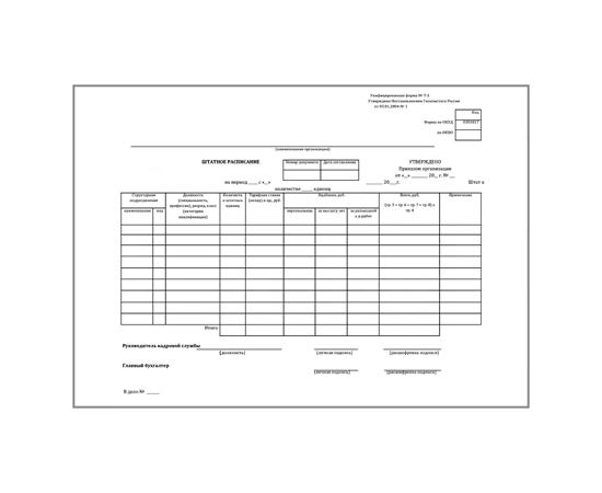 Штатное расписание (форма № Т-3), фото 1