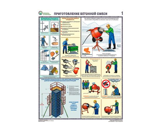 Плакаты Безопасность бетонных работ на строй площадке, фото 1