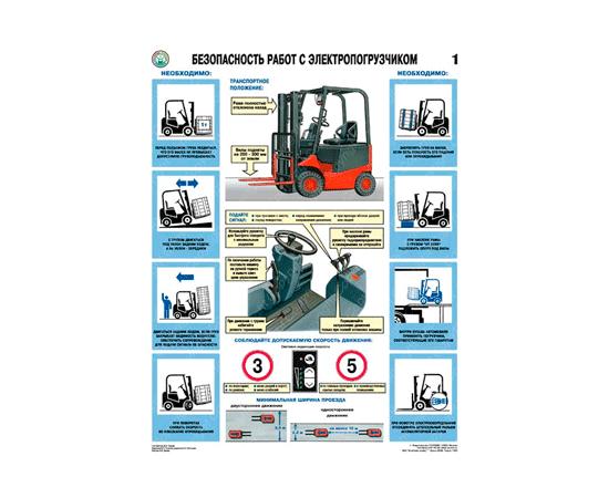 Плакаты Безопасность работ с электропогрузчиками, фото 1
