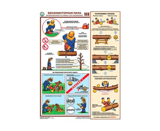 Плакаты Бензомоторная пила. Безопасность работ на лесосеке, фото 3