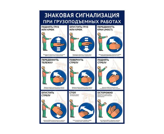 Плакат Знаковая сигнализация при грузоподъемных работах (1л), фото 1